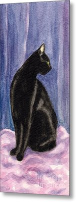 Metal Print featuring the painting A Black Cat's Sexy Pose by Jingfen Hwu