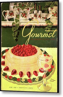 A Blancmange Ring With Strawberries Metal Print by Henry Stahlhut