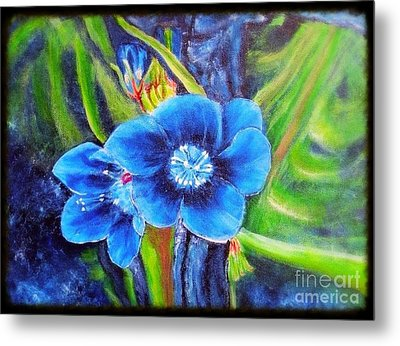Exotic Blue Flower Prize For Blue Dragonfly Metal Print
