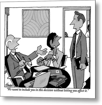 A Boss Addresses One Of His Employees Metal Print
