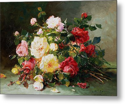 A Bouquet Of Roses Metal Print by Eugene Henri Cauchois