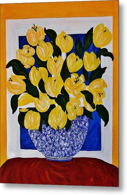 Metal Print featuring the painting A Bowl Full Of Gold by Celeste Manning