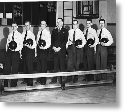 A Bowling Team With Balls Metal Print by Underwood Archives