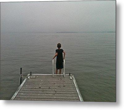 A Boy And A Lake Metal Print