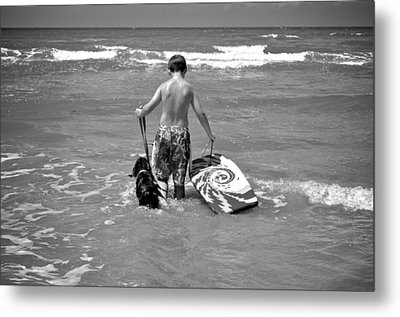 A Boy And His Dog Go Surfing Metal Print by Kristina Deane