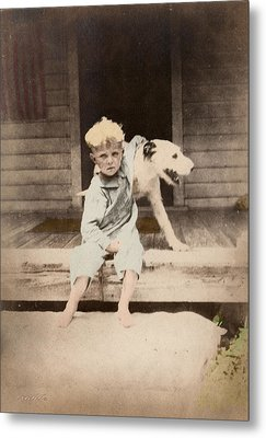 Metal Print featuring the photograph A Boy And His Dog by Ron Crabb