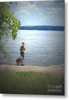 A Boy And His Dog Metal Print by Sandra Clark