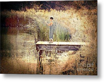 A Boy Fishing Metal Print by Jt PhotoDesign
