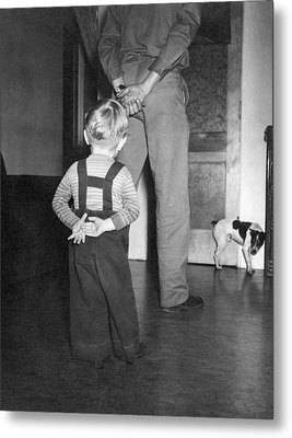 A Boy Imitates His Father Metal Print by Underwood Archives