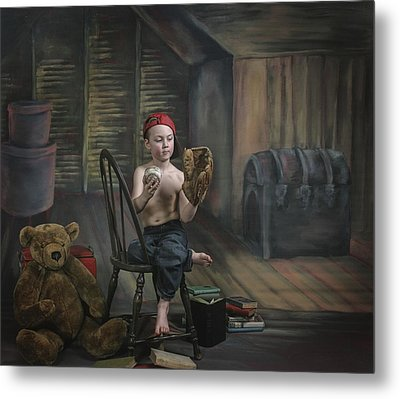 A Boy In The Attic With Old Relics Metal Print by Pete Stec
