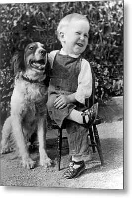 A Boy Laughs With His Dog Metal Print by Underwood Archives