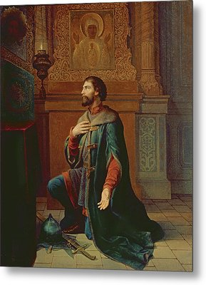 A Boyar Before The Campaign, 1871 Oil On Canvas Metal Print