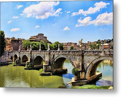 Metal Print featuring the photograph A Bridge In Rome by Oscar Alvarez Jr