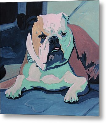 A Bulldog In Love Metal Print by Xueling Zou