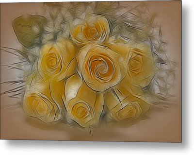 A Bunch Of Yellow Roses Metal Print by Susan Candelario