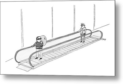 A Burglar Is On A Moving Walkway Holding A Bag Metal Print