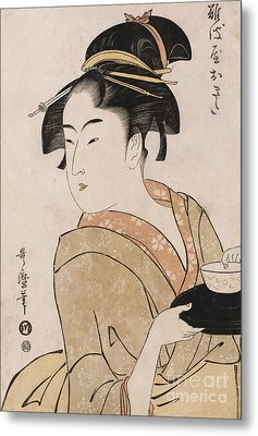 A Bust Portrait Of The Waitress Okita Of The Naniwaya Teahouse Metal Print by Kitagawa Utamaro