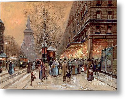 A Busy Boulevard Near The Place De La Republique Paris Metal Print by Eugene Galien-Laloue
