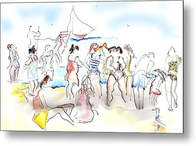 A Busy Day At The Beach Metal Print