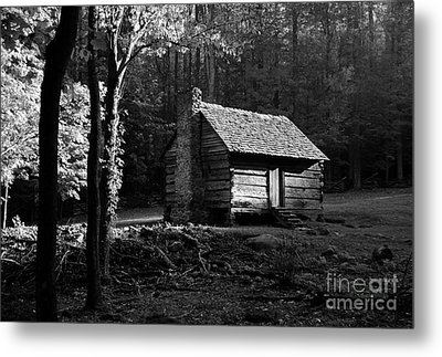 A Cabin In The Woods Bw Metal Print by Mel Steinhauer
