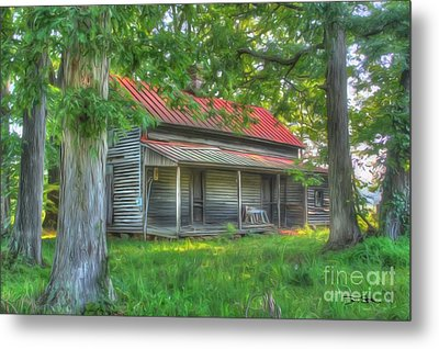 A Cabin In The Woods Metal Print by Dan Stone