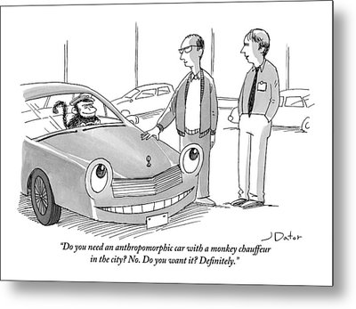 A Car Salesman Gives A Pitch To A Prospective Metal Print by Joe Dator