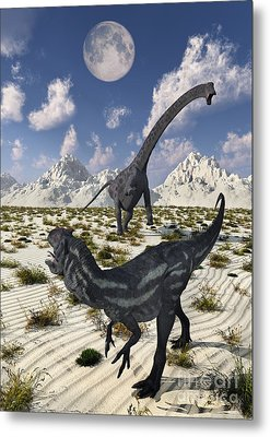 A Carnivorous Allosaurus Confronting Metal Print by Mark Stevenson