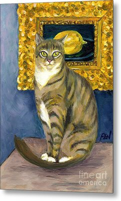 A Cat And Eduard Manet's The Lemon Metal Print