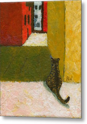 A Cat Waiting For Someone's Return Metal Print