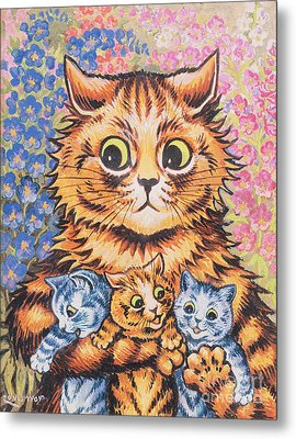 A Cat With Her Kittens Metal Print by Louis Wain