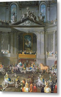A Cavalcade In The Winter Riding School Of The Vienna Hof To Celebrate The Defeat Of The French Metal Print by Martin II Mytens or Meytens