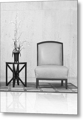 A Chair And A Table With A Plant  Metal Print by Rudy Umans