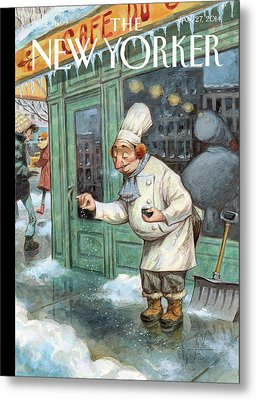 A Chef Lightly Pinches Salt On The Sidewalk Metal Print