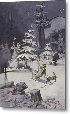 A Cherub Wields An Axe As They Chop Down A Christmas Tree Metal Print by French School