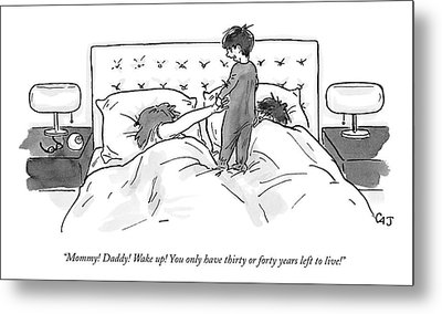 A Child Jumps On His Parents' Bed Metal Print