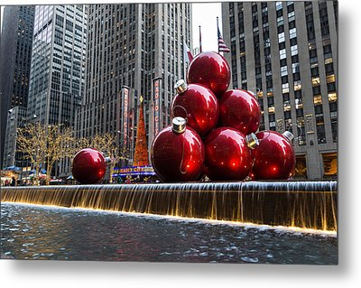 A Christmas Card From New York City - Radio City Music Hall And The Giant Red Balls Metal Print
