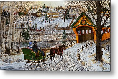 A Christmas Sleigh Ride Metal Print by Doug Kreuger