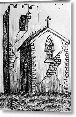 Metal Print featuring the painting Old Church by Salman Ravish