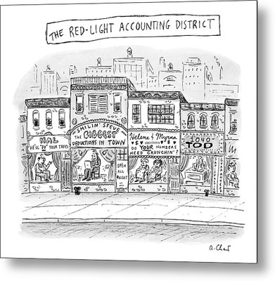A City Block Is Full Of Buildings With Glass Metal Print by Roz Chast