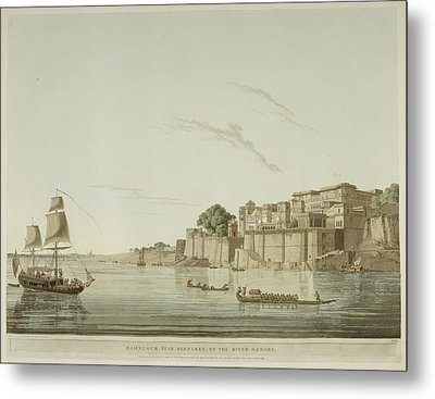 A City On The River Ganges. Metal Print by British Library