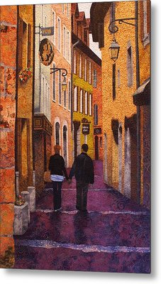 A City Walk In Spring Metal Print by Lenore Crawford