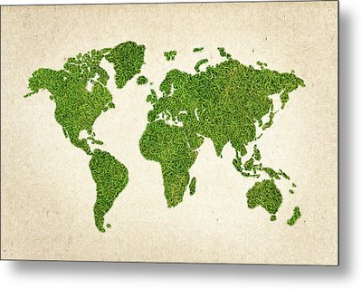 World Grass Map Metal Print by Aged Pixel