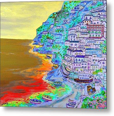 A Coastal View Of Positano Metal Print by Loredana Messina