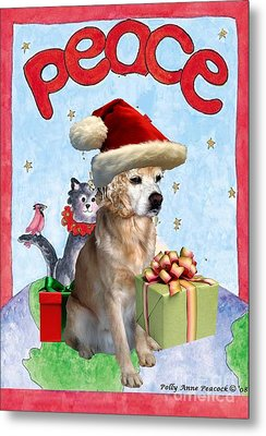 Metal Print featuring the digital art A Cocker Spaniel's Christmas Greeting Card by Polly Peacock