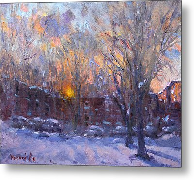 A Cold Winter Sunset  Metal Print by Ylli Haruni