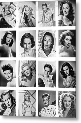 A Collage Of Movie Starlets Portraits Metal Print