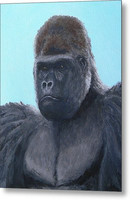 Metal Print featuring the painting A Contemplative Gorilla by Margaret Saheed