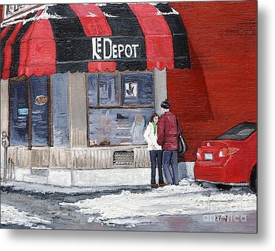 A Conversation Near Le Depot Metal Print by Reb Frost