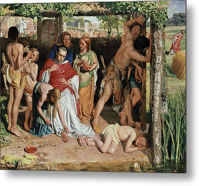 A Converted British Family Sheltering A Christian Missionary From The Persecution Of The Druids Metal Print by William Holman Hunt
