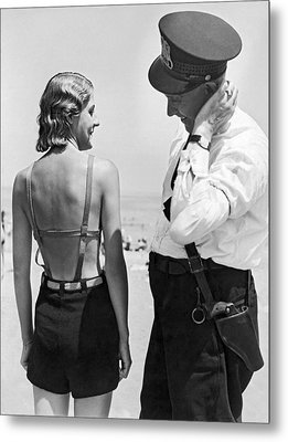 A Cop Polices Bathing Suits Metal Print by Underwood Archives